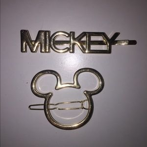 Gold Set of 2 Mickey Hair Clips (never worn)